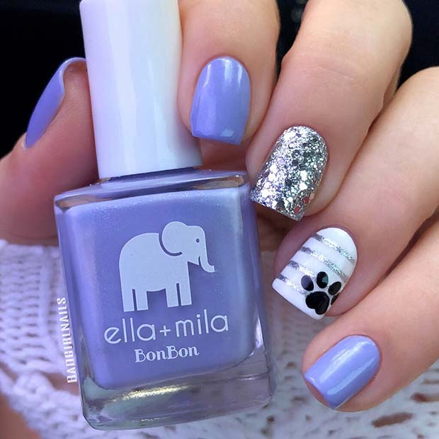 Cute Nails with a Paw Print