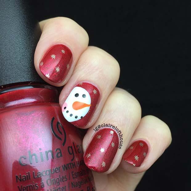 Cute Snowman Nails