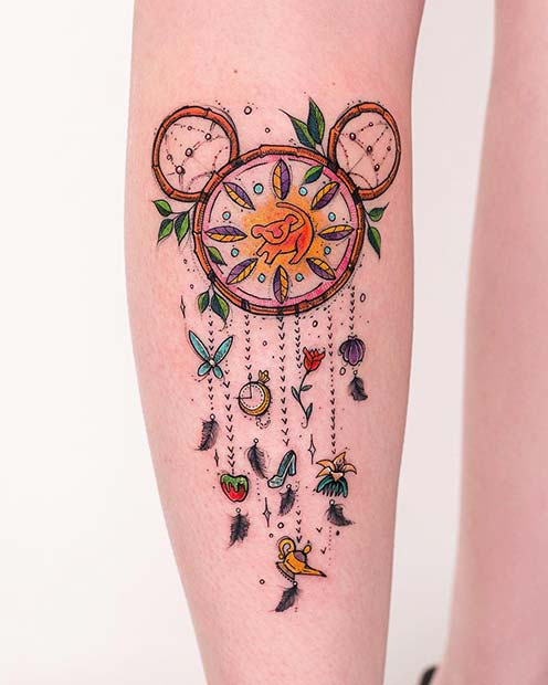 Cute, Disney Inspired Dream Catcher Tattoo