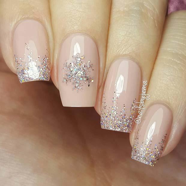 Elegant Snowflake Nail Idea