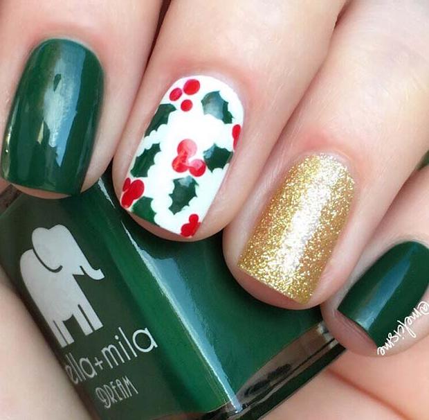 Festive Holly Nails