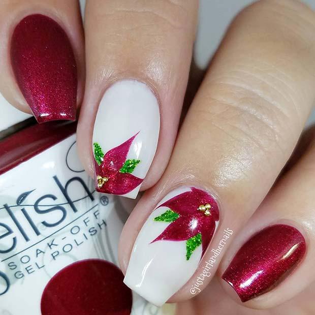 Festive Poinsettia Inspired Nail Art