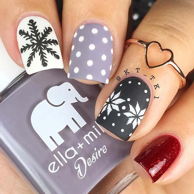 Festive Snowflake Nails