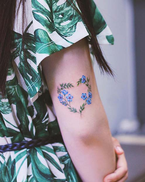 Cute, Floral Heart Tattoo for Girls