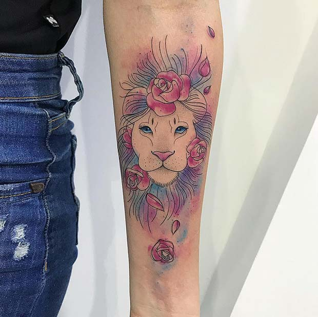 Cute, Floral Lioness Tattoo
