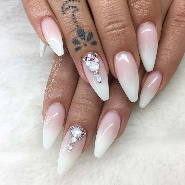French Ombre Nails with Rhinestones