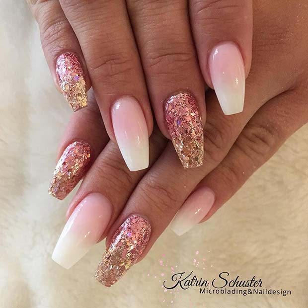 French Ombre Nails With Gold Glitter