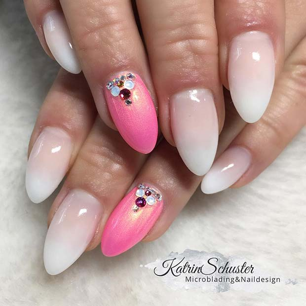 French Ombre and Pink Nails