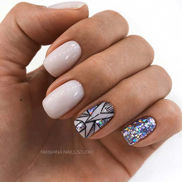 Sparkly Short Acrylic Nails