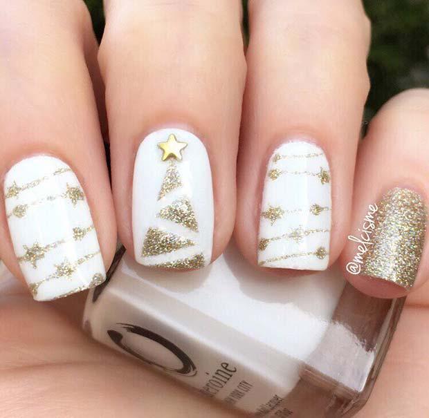 Glam Gold Christmas Nails