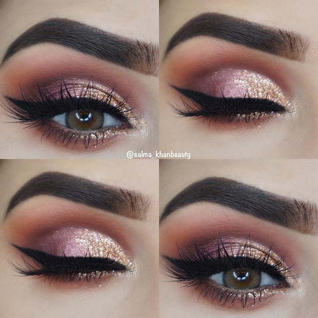Glam Pink and Gold Eye Makeup Idea