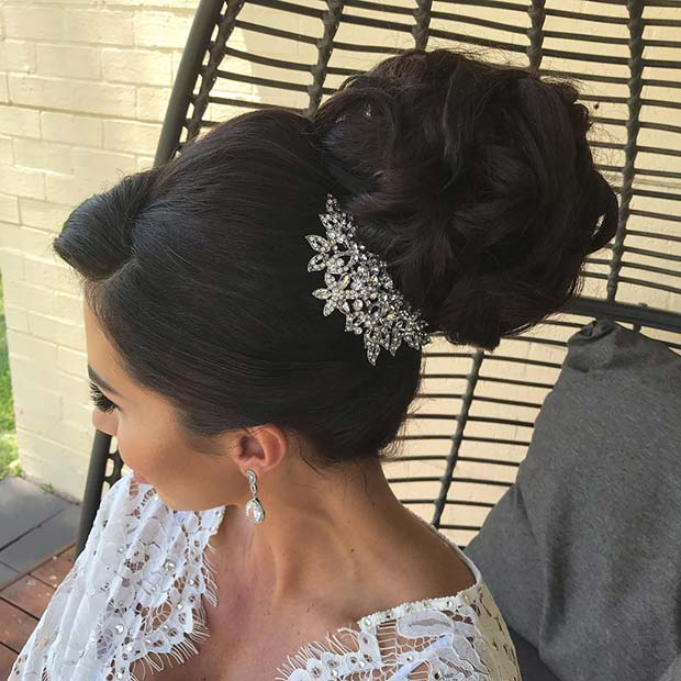 Glam High Updo for Brides