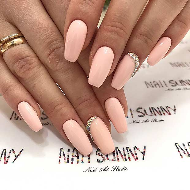 Glam Nude Coffin Nails
