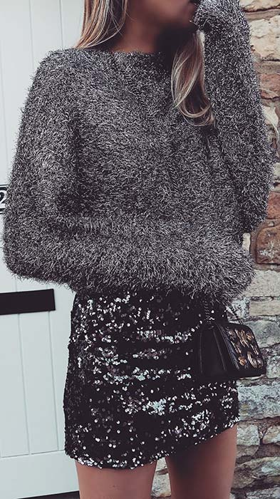 Sweater and Sequin Skirt Outfit Idea