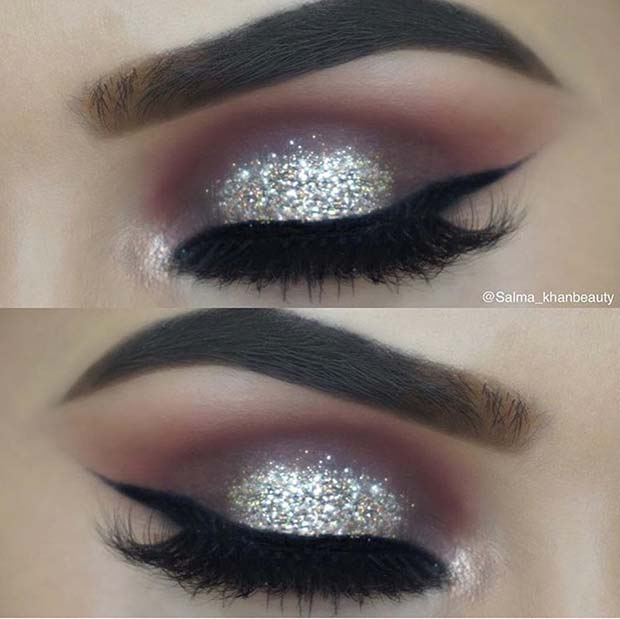 Glitter Eye Makeup Idea and Classic Eyeliner