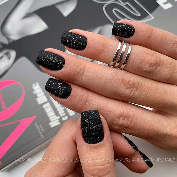 Glittery, Matte Black Acrylic Nails