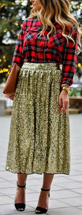 Gold Sequin Midi Skirt and Plaid Shirt
