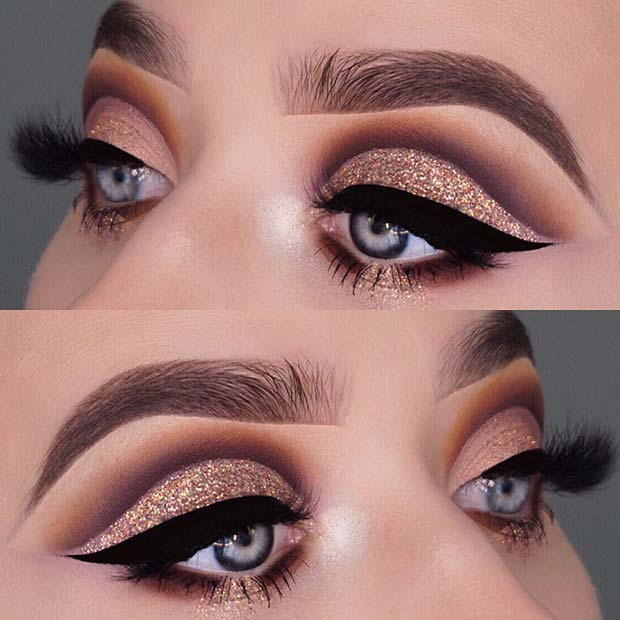 Gold Glitter Eyes with Bold Eyeliner