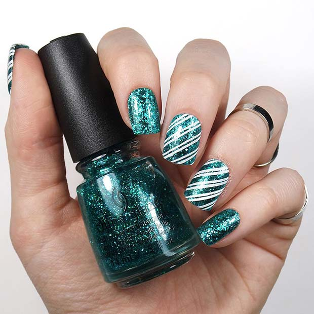 Green Stripe Nails for the Holidays