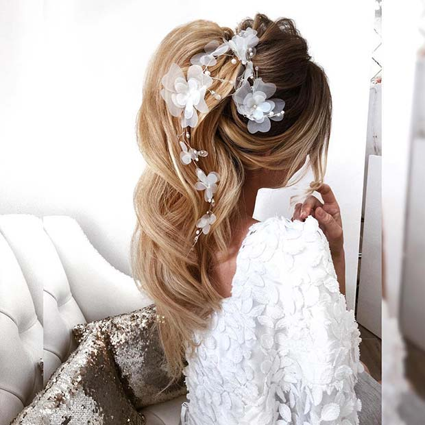 High Accessorized Ponytail for Brides