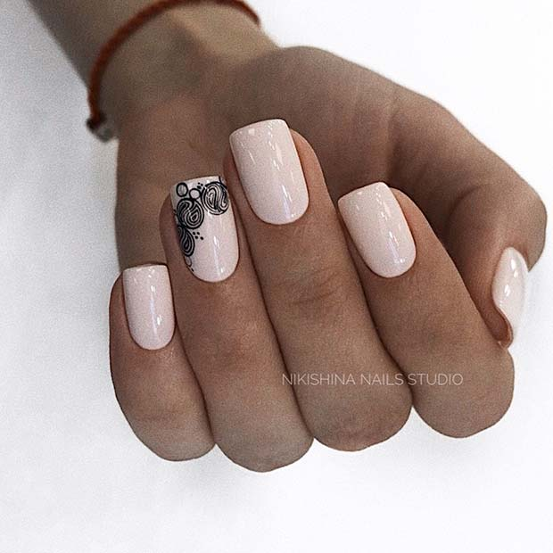Light Acrylic Nails with Stylish Accent Nail