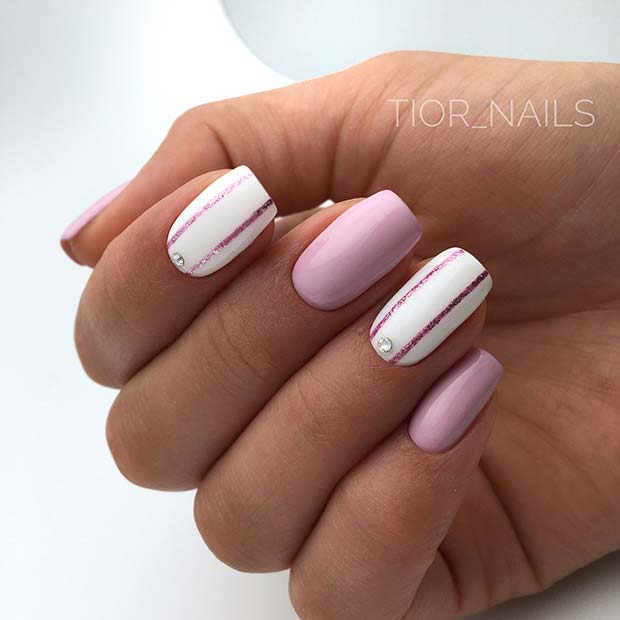 Light Pink and White Acrylic Nails