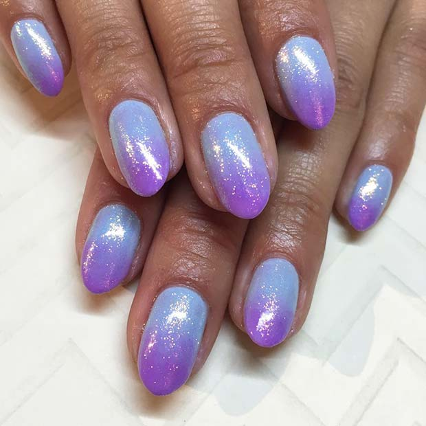 Blue to Purple Ombre Nails