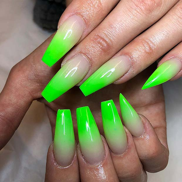 Lime Green Ombre Coffin Nails