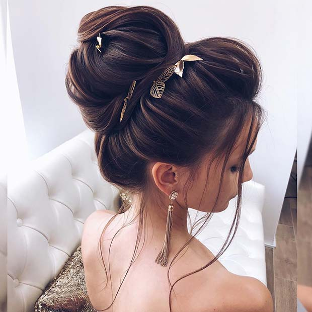 Loose, High Bun with Gold Leaves