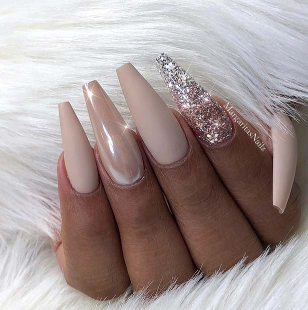 Nude Coffin Nails with Chrome and Glitter