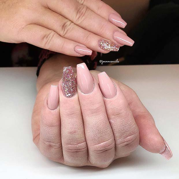 Nude Coffin Nails with Glitter Accent Nail
