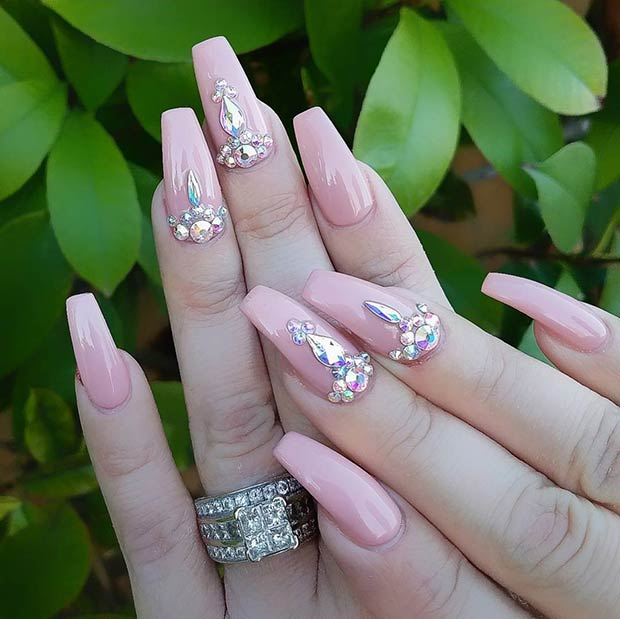 Nude Coffin Nails with Pretty Rhinestones