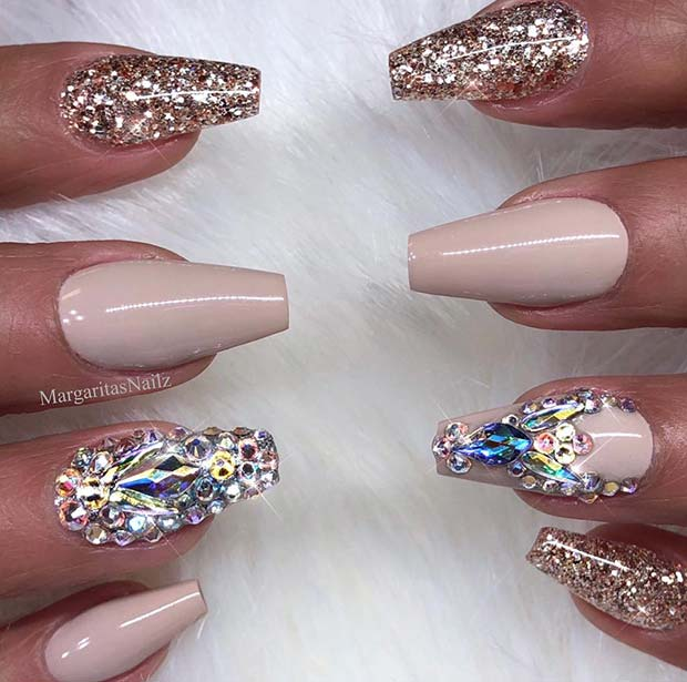 Nude Coffin Nails with Crystals and Glitter