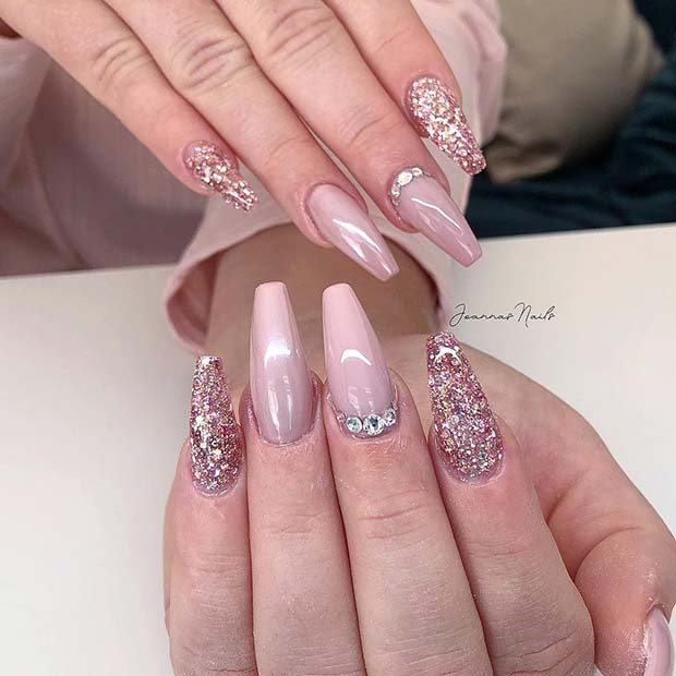Nude and Glitter Coffin Nail Art Design