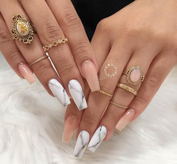Nude and Marble Coffin Nails