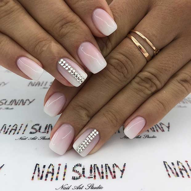 Nude to White Ombre Nails with Rhinestones