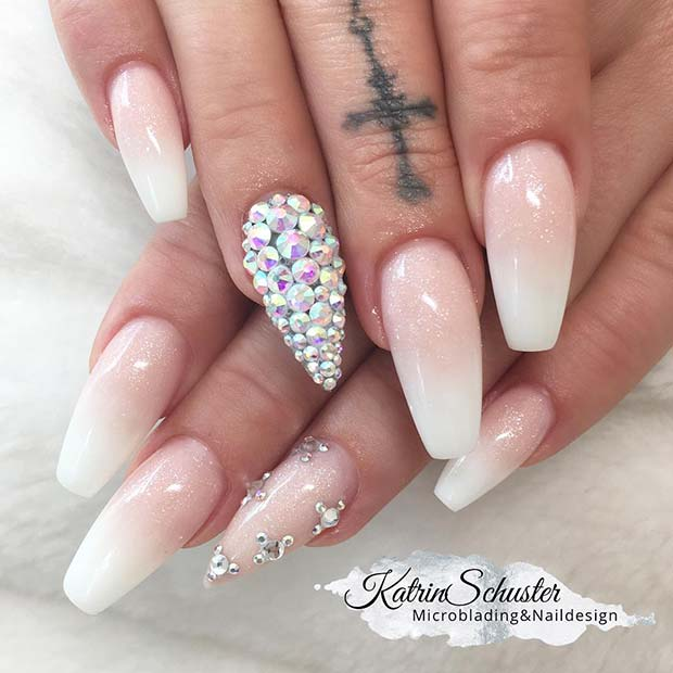 Sparkly French Ombre Nails