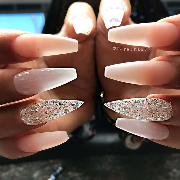 French Ombre and Glitter Accent Nail