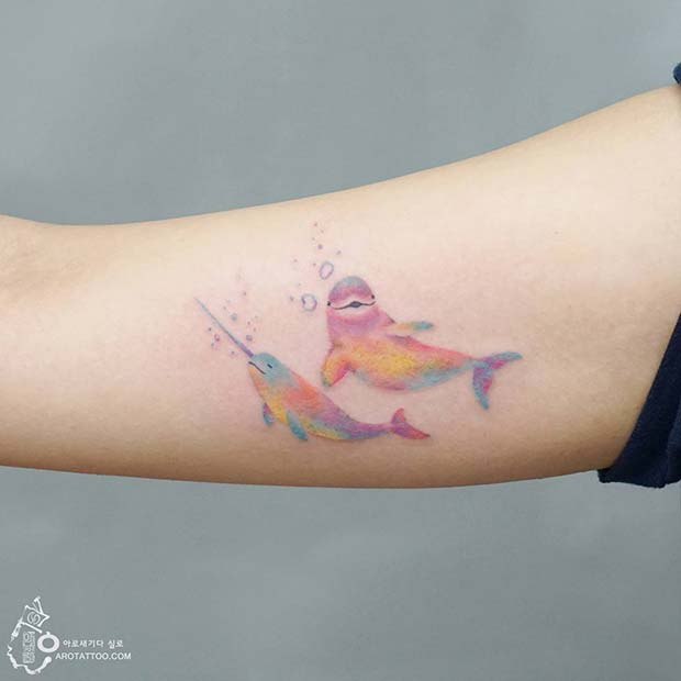 Pastel Rainbow Narwhal and Beluga Tattoo