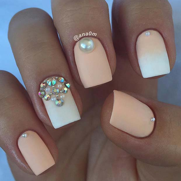 Matte Ombre Nails with Pearls and Rhinestones