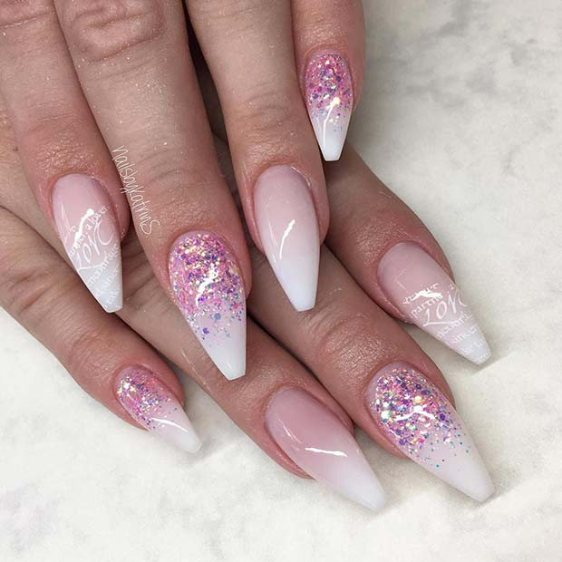 Pink Glitter and French Ombre Nails