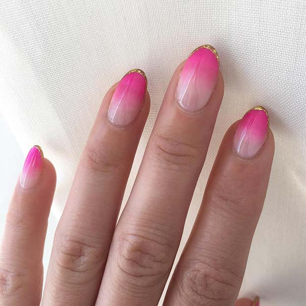 Pink Ombre Nails with Gold Tips
