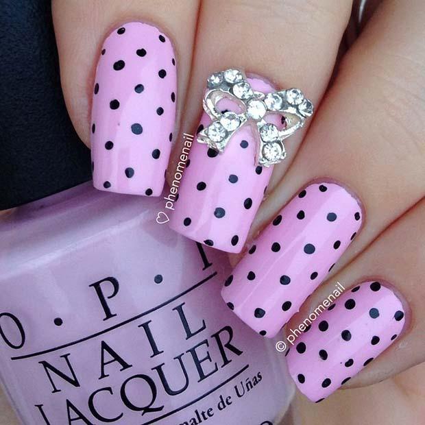 Pink and Black Polka Dot Nails