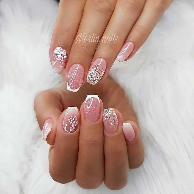 Elegant, Glitter Short Coffin Nails