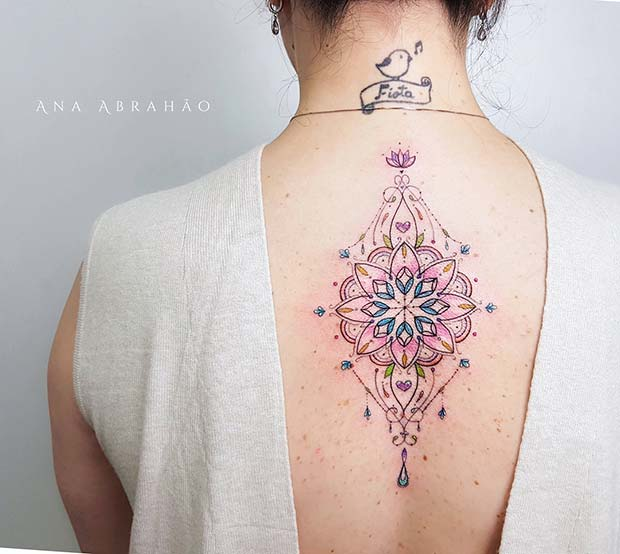 Pretty Mandala Back Tattoo Idea