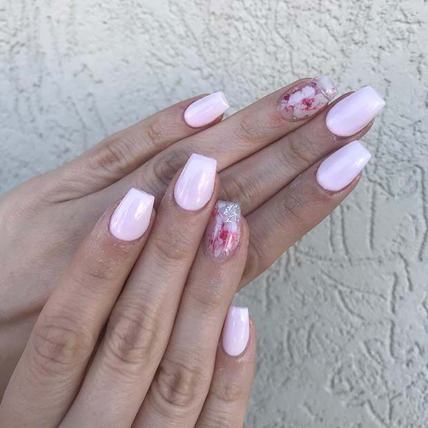 Pretty Light Pink Nails with Flower Accent Nail
