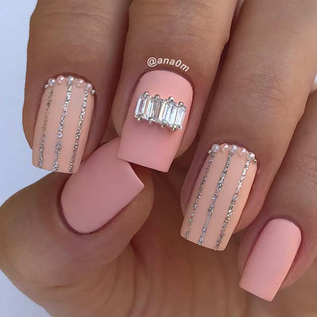 Matte Pink Nails with Rhinestones and Glitter