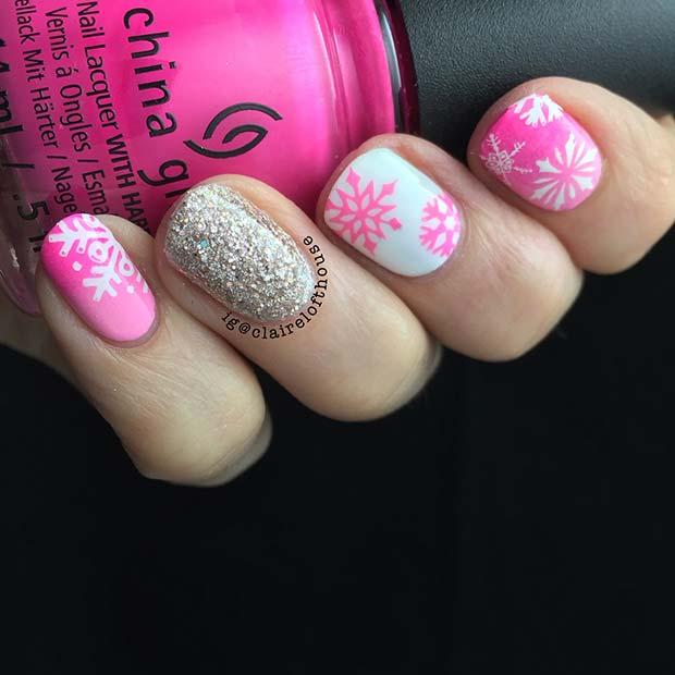 Pretty Pink Snowflake Nail Idea