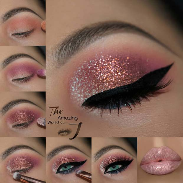 Sparkly Pink Eye Makeup Tutorial