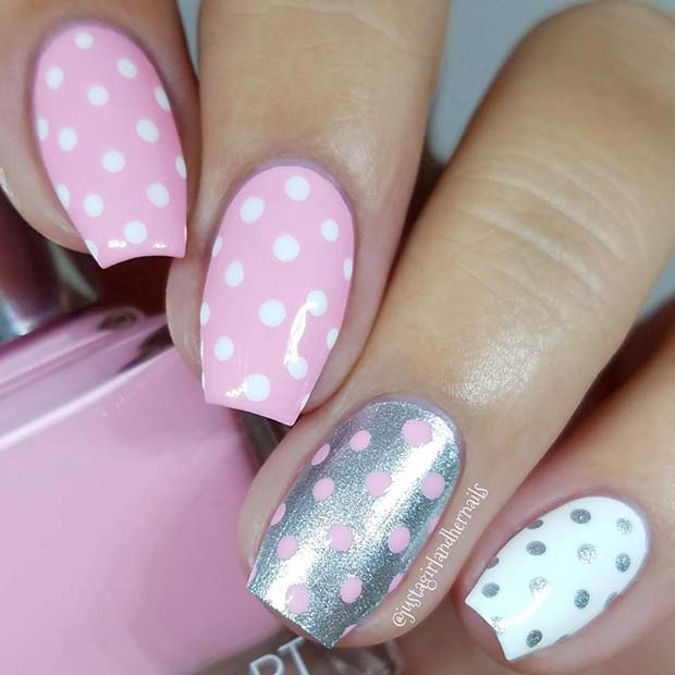 Pretty Pink Polka Dot Nails